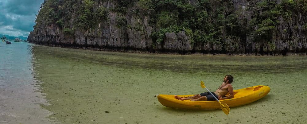 Resting in kayak in Philippines