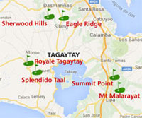 Map showing Golf courses around Tagaytay, Philippines