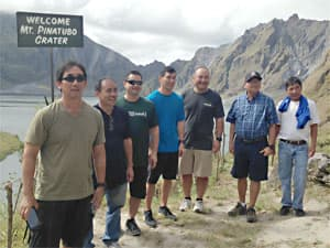 Golfers on an excursion to Mount Pinatubo in the Philippines