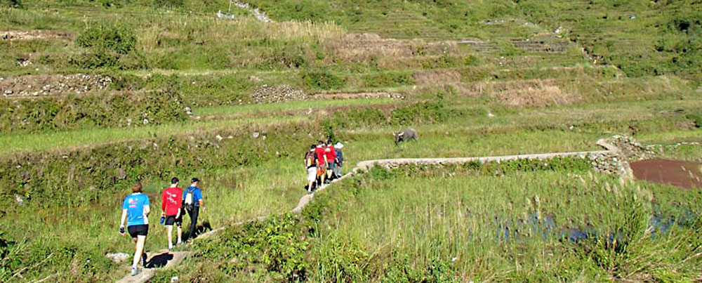 Mountain biking and trekking in the Rice Terraces, Philippines