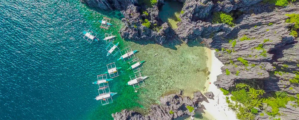 Boats from above, Palawan, Philippines