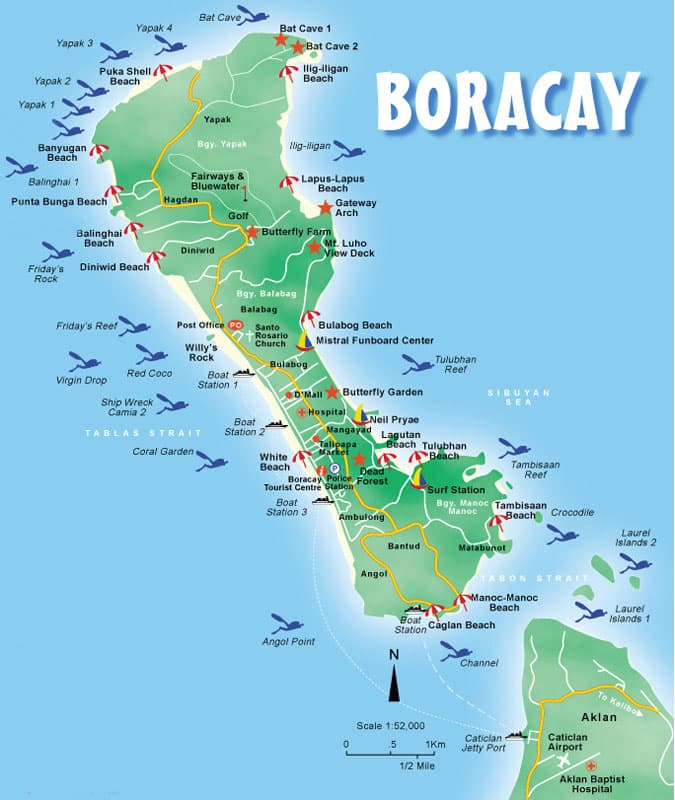 Map of Boracay showing Boracay Diving Sites