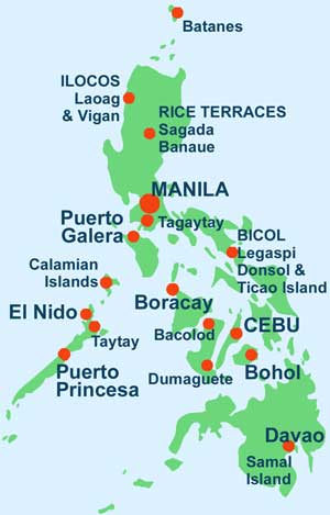 Map showing the Main Tourist Areas of the Philippines